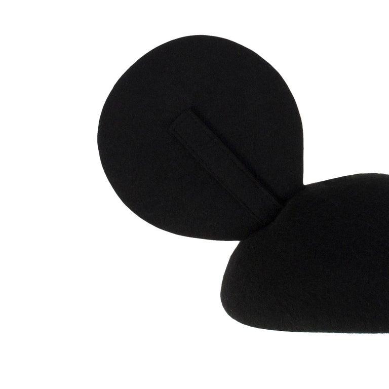 Black 1990s Vintage Felt Mickey Mouse Hat Adjustable Ear Detail For Sale