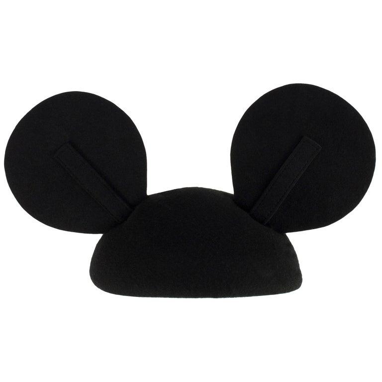 1990s Vintage Felt Mickey Mouse Hat Adjustable Ear Detail For Sale