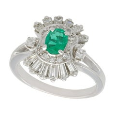 1990s Vintage French Emerald and Diamond White Gold Cocktail Ring