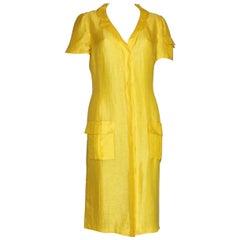 1990s Vintage Gianni Versace Couture Yellow Silk & Linen Summer Dress