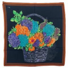 1990's Vintage Gucci Silk Flower Bouquet Scarf