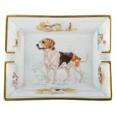 1990's Vintage Hermes Hunting Dog Porcelain Ashtray