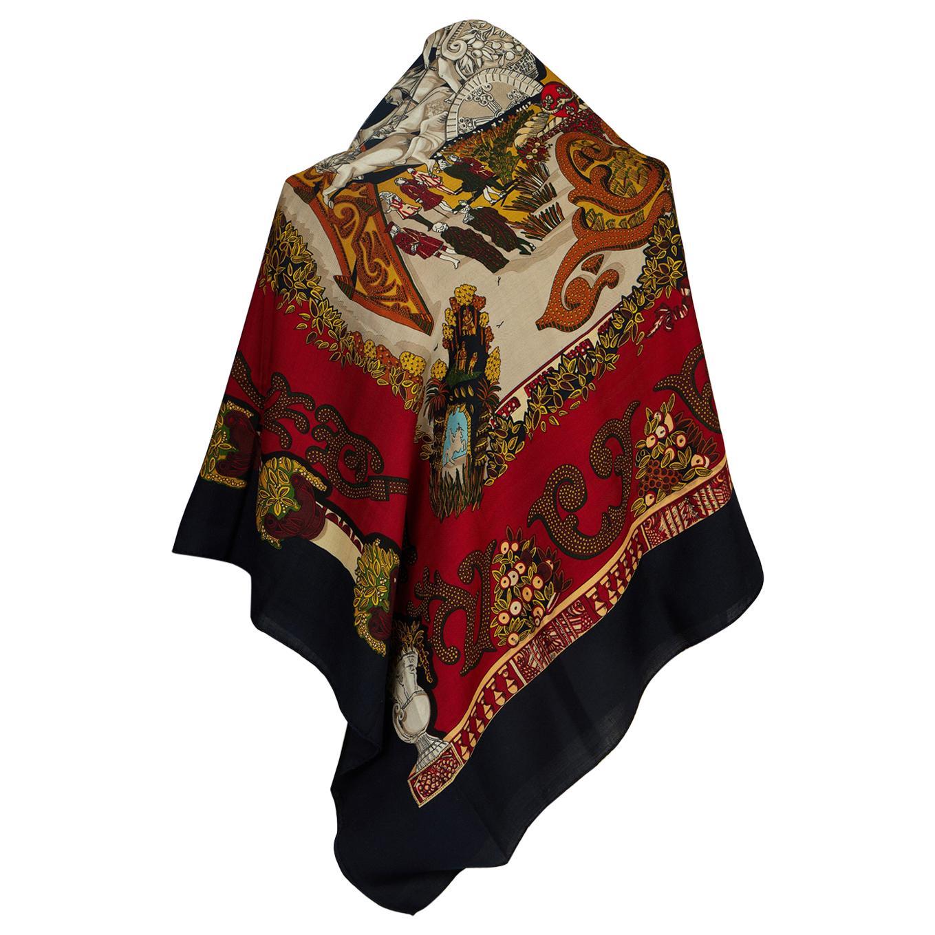 1990's Vintage Hermès Paradis Du Roi Dark Red Shawl