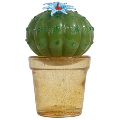 1990s Vintage Italian Green Murano Glass Small Cactus Plant with Blue Flower
