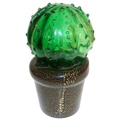 1990s Vintage Italian Green Murano Glass Small Cactus Plant in Black & Gold Pot