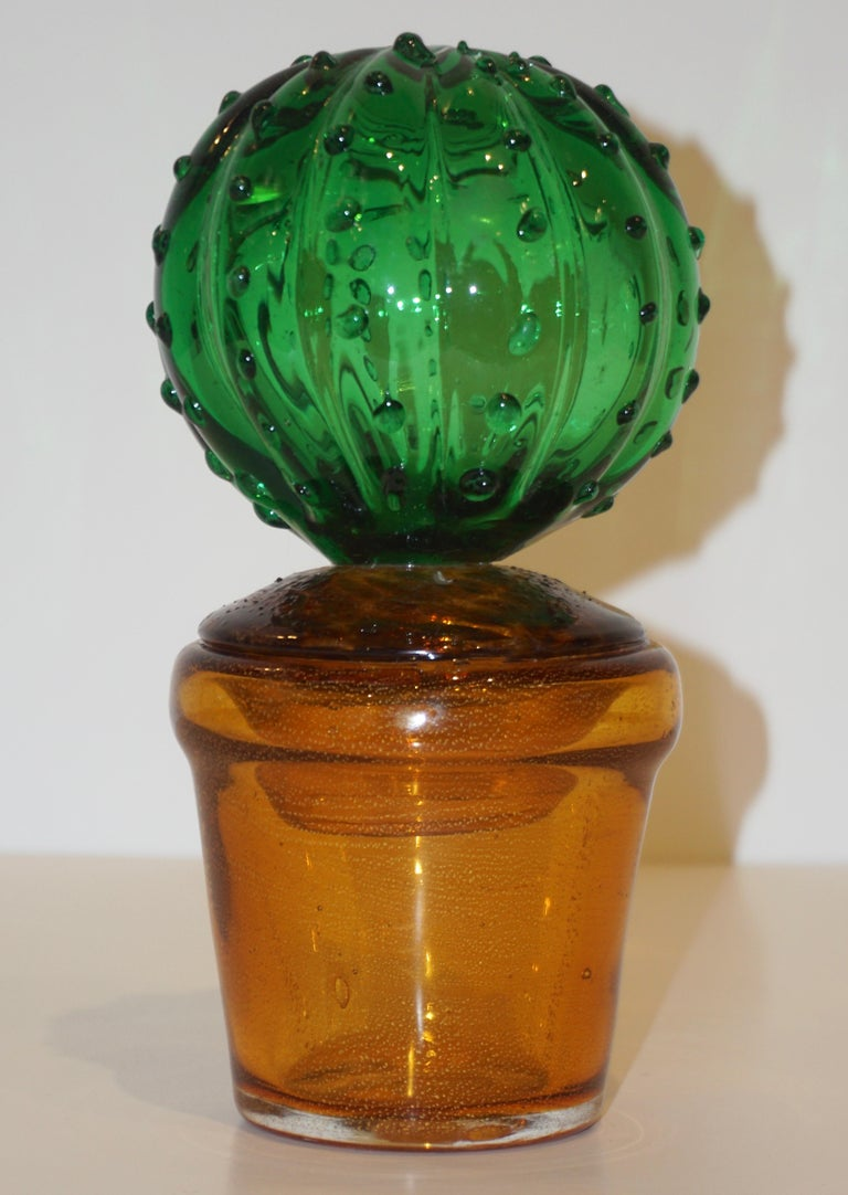 1990s Vintage Italian Vivid Green Murano Glass Small Cactus Plant in Gold Pot For Sale 4