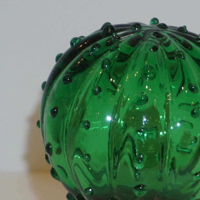 1990s Vintage Italian Vivid Green Murano Glass Small Cactus Plant in Gold Pot In Excellent Condition For Sale In New York, NY