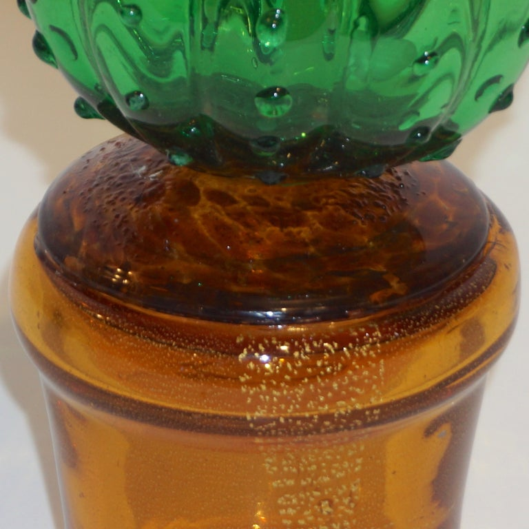 Late 20th Century 1990s Vintage Italian Vivid Green Murano Glass Small Cactus Plant in Gold Pot For Sale