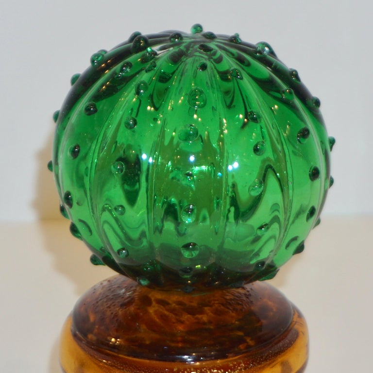 Art Glass 1990s Vintage Italian Vivid Green Murano Glass Small Cactus Plant in Gold Pot For Sale