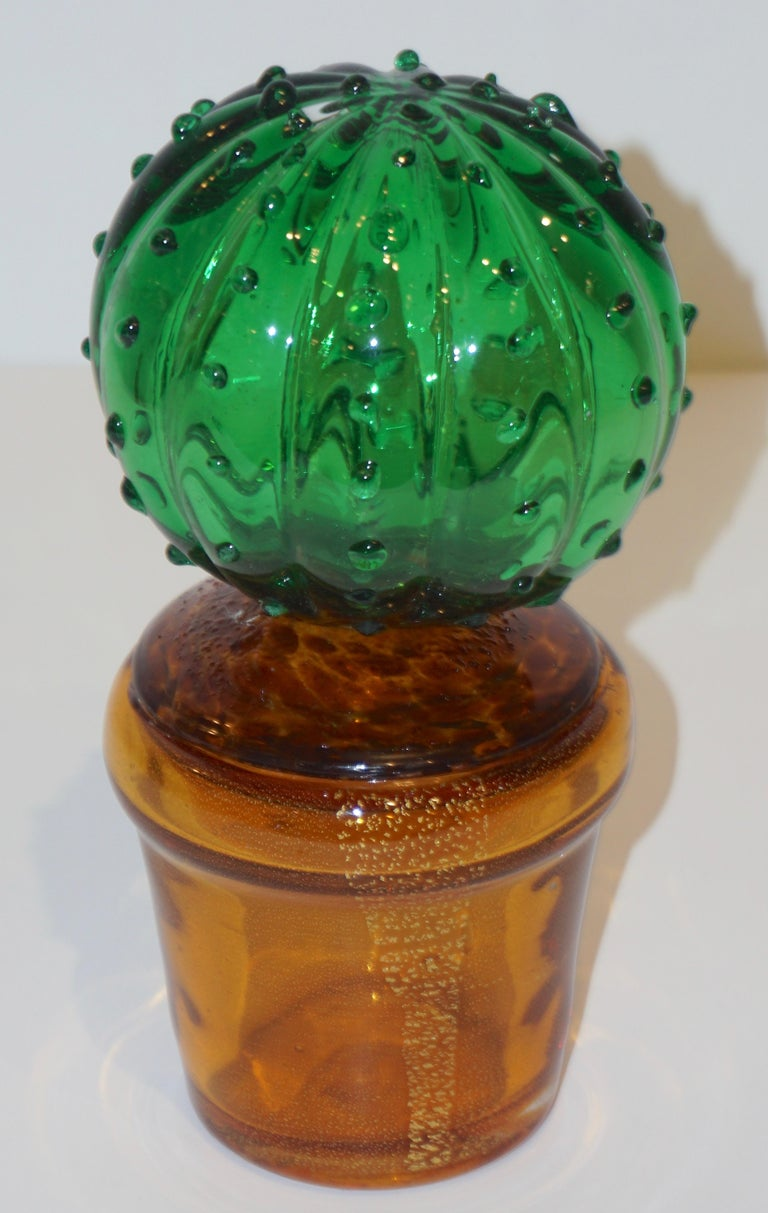 1990s Vintage Italian Vivid Green Murano Glass Small Cactus Plant in Gold Pot For Sale 1