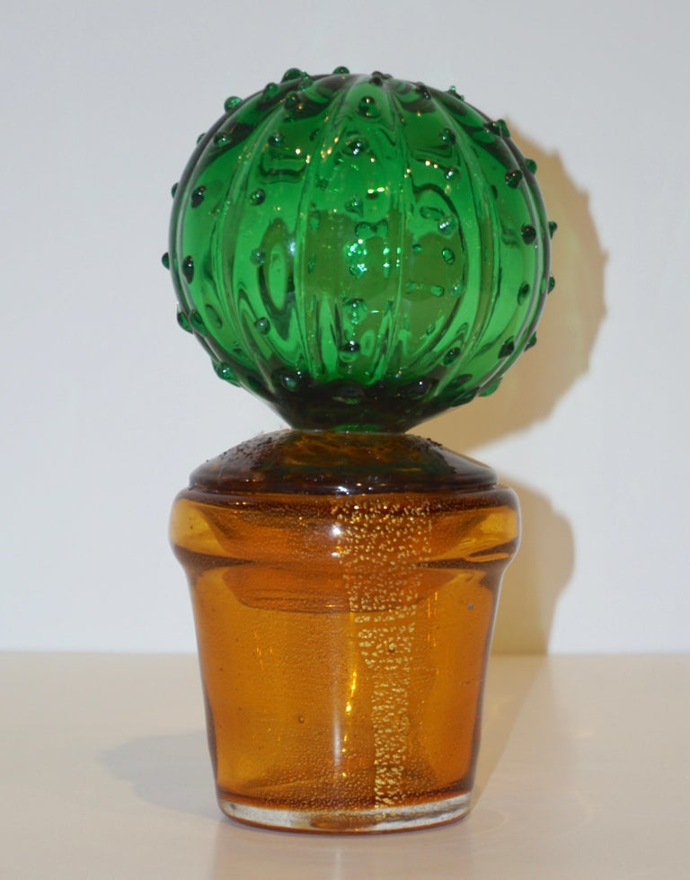 1990s Vintage Italian Vivid Green Murano Glass Small Cactus Plant in Gold Pot For Sale 2