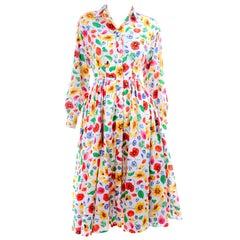 1990s Vintage Kenzo Poppy Floral Print Cotton Shirtwaist Dress With Full Skirt