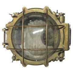 1990s Vintage Nautical Caged Brass Hallway Ship Light