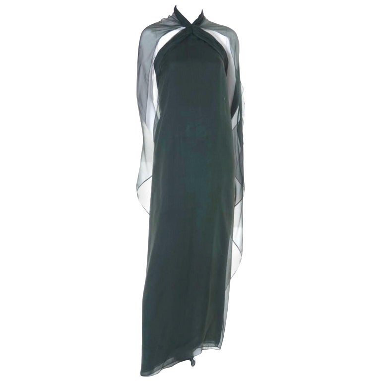 1990s Vintage Oscar de la Renta Dress Evening Gown in Green Silk Chiffon w Scarf For Sale