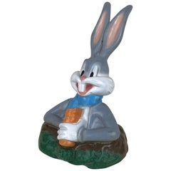 1990s Vintage Plastic Sculpture of Warner Bros' Bugs Bunny Eating a Carrot