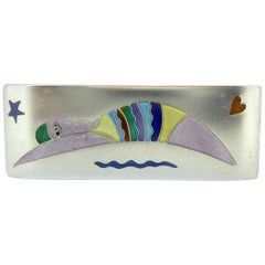1990s Vintage Silver and Enamel Swimmer Brooch, Jane Moore Designs