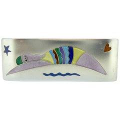 1990er Jahre Vintage Silber und Emaille Schwimmer Brosche, Jane Moore Designs