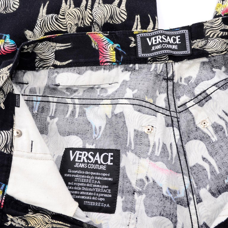 1990s Vintage Versace Jeans Couture Black Pants in Ombre Rainbow Zebra Print For Sale 10