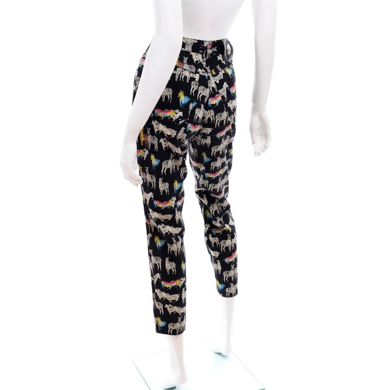 1990s Vintage Versace Jeans Couture Black Pants in Ombre Rainbow Zebra Print In Excellent Condition For Sale In Portland, OR