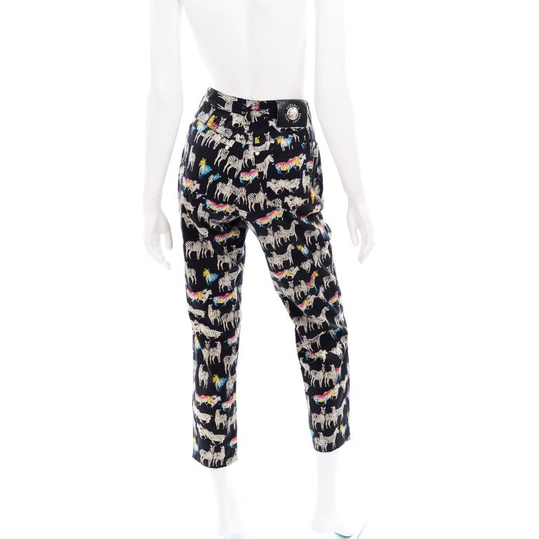 Women's 1990s Vintage Versace Jeans Couture Black Pants in Ombre Rainbow Zebra Print For Sale