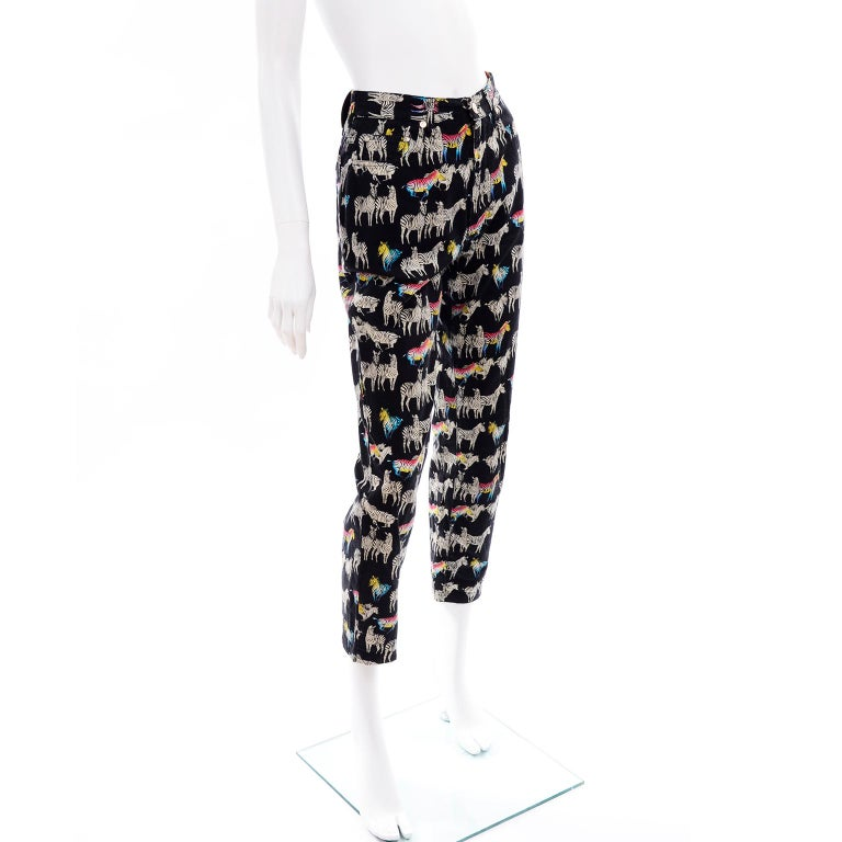 1990s Vintage Versace Jeans Couture Black Pants in Ombre Rainbow Zebra Print For Sale 1