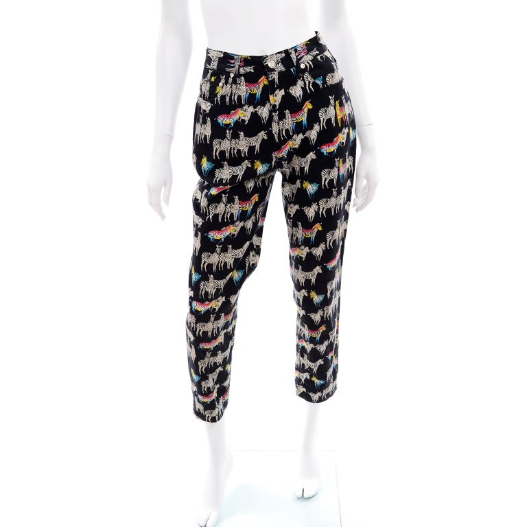 1990s Vintage Versace Jeans Couture Black Pants in Ombre Rainbow Zebra Print For Sale 2
