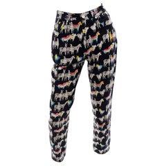 1990s Vintage Versace Jeans Couture Black Pants in Ombre Rainbow Zebra Print
