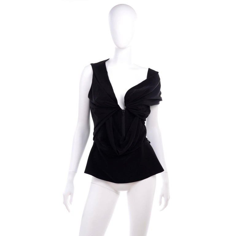 Vivienne Westwood Red Label Avant Garde Black Draped Corset Top In Excellent Condition For Sale In Portland, OR