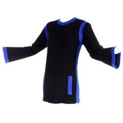 Vintage Yves Saint Laurent Sweater Pullover Top in Black Wool W/ Blue Trim
