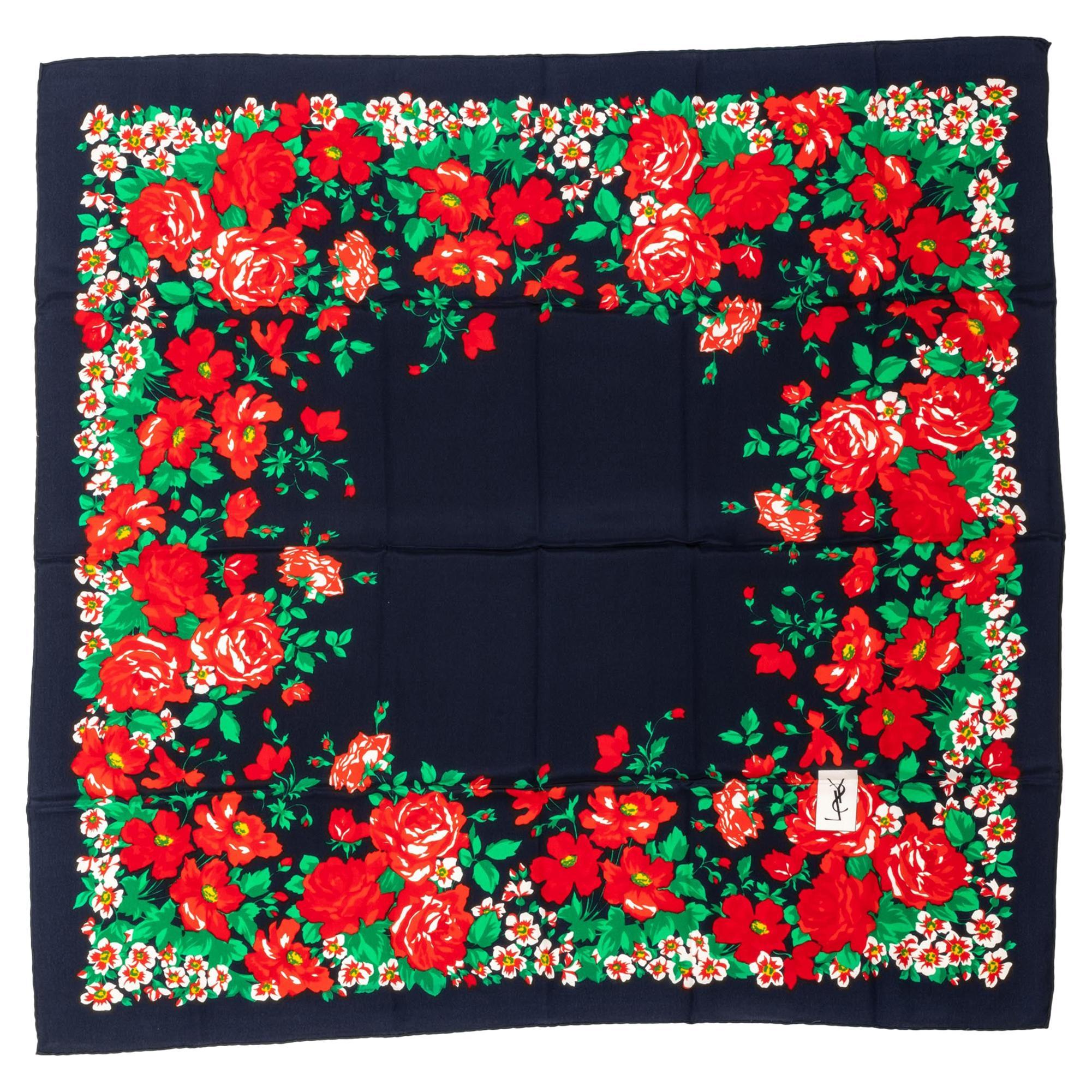 1990's Vintage Yves Saint Laurent YSL Black & Red Silk Flowers Scarf