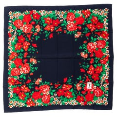 1990's Vintage Yves Saint Laurent YSL Black & Red Silk Flowers Scarf