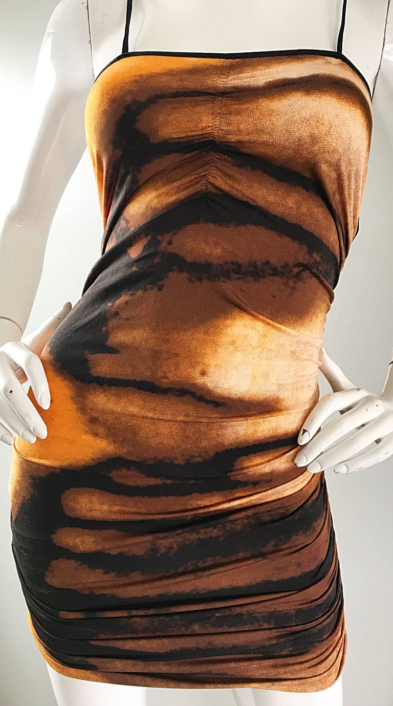 Women's 1990s Vivienne Tam Brown + Burnt Orange + Black Abstract Vintage 90s Mini Dress For Sale