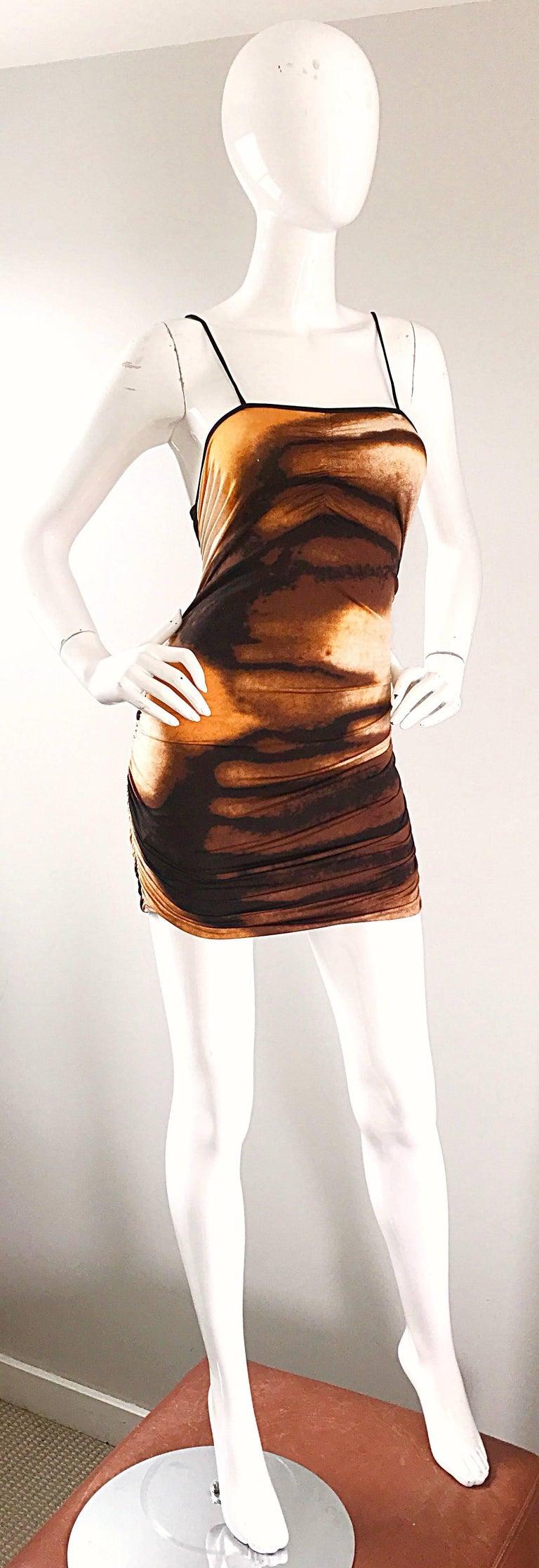 1990s Vivienne Tam Brown + Burnt Orange + Black Abstract Vintage 90s Mini Dress For Sale 1