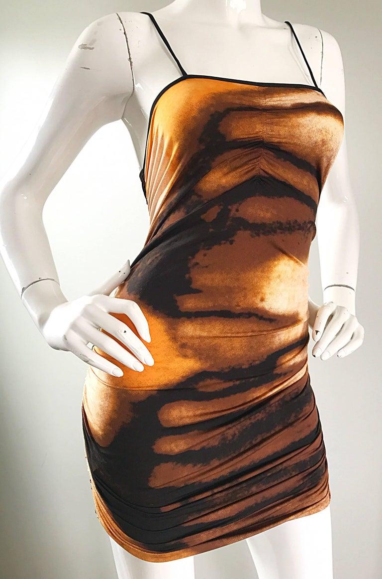 1990s Vivienne Tam Brown + Burnt Orange + Black Abstract Vintage 90s Mini Dress For Sale 3