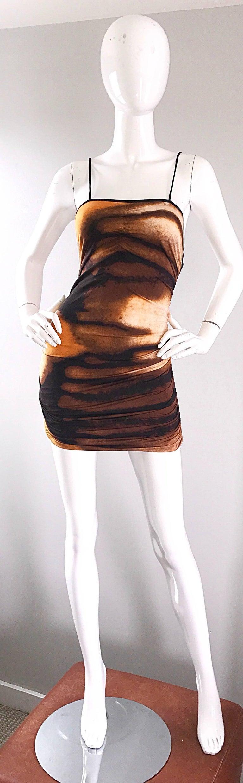 1990s Vivienne Tam Brown + Burnt Orange + Black Abstract Vintage 90s Mini Dress For Sale 5