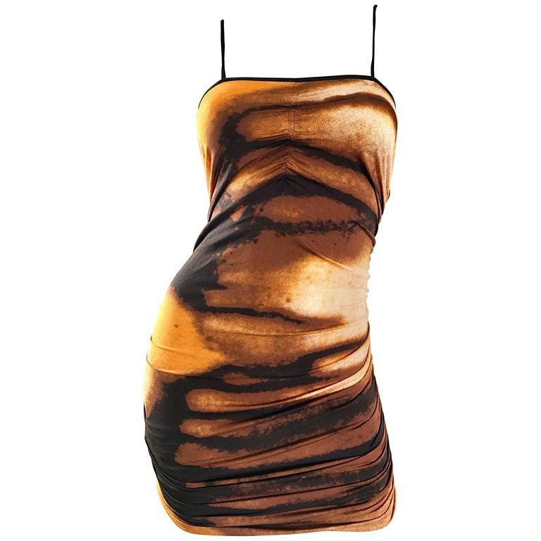 1990s Vivienne Tam Brown + Burnt Orange + Black Abstract Vintage 90s Mini Dress For Sale