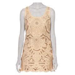 1990S VIVIENNE TAM Ecru Embroidered Cotton Lace Dress