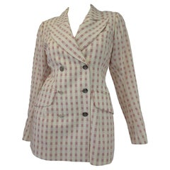 1990's Vivienne Westwood Gold Label Red and Cream Checked bobble Breasted Blazer