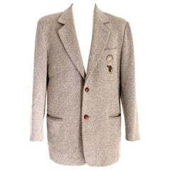 Jc de Castelbajac Beige Tweed Wool Jacket Walter Lants Production 1990s Cartoon