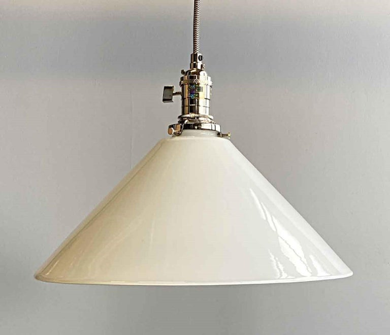 Mid-Century Modern 1990s White Cone Glass Pendant Light with New Polished Nickel Finish Hardware For Sale