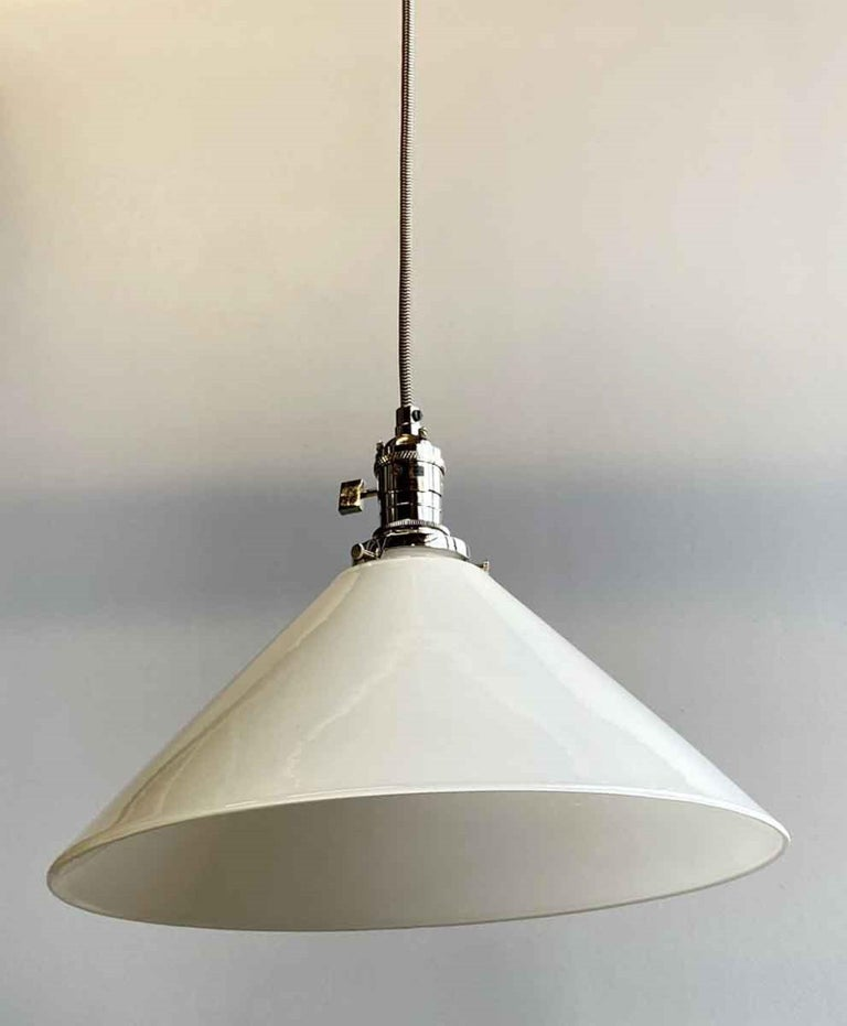 American 1990s White Cone Glass Pendant Light with New Polished Nickel Finish Hardware For Sale