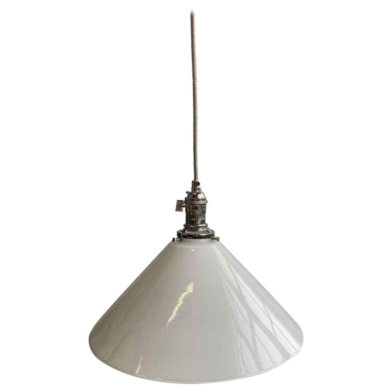 1990s White Cone Glass Pendant Light with New Polished Nickel Finish Hardware For Sale