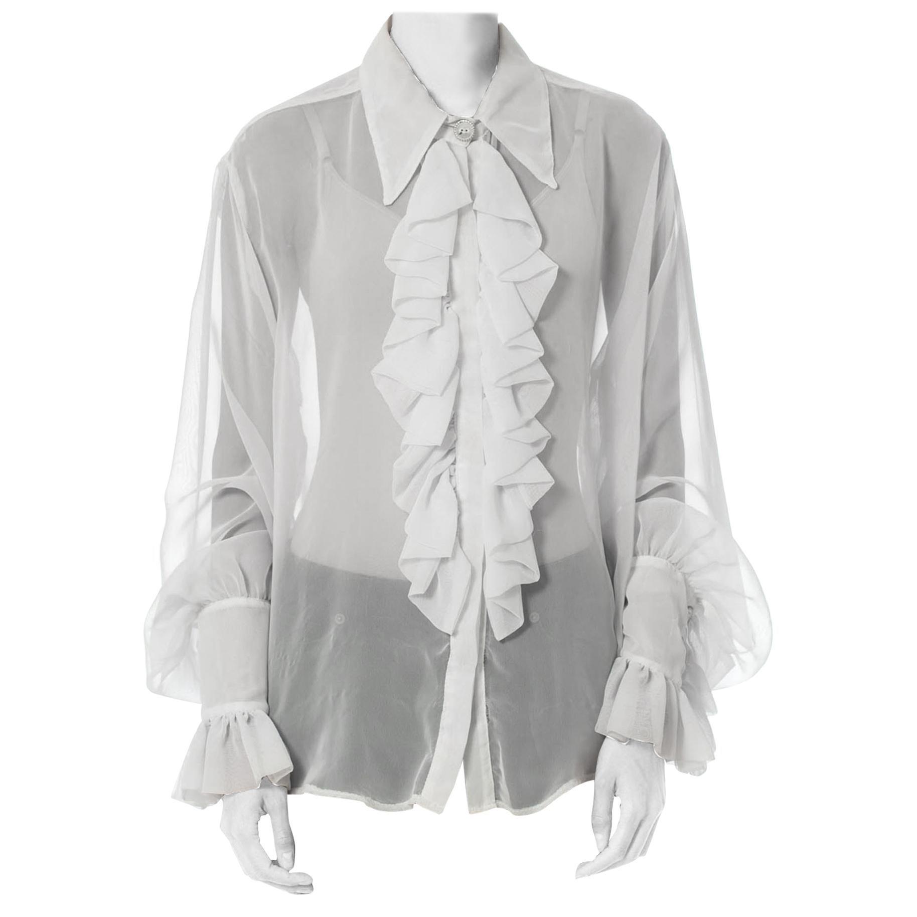 Black Lace Blouse  1990s  Sheer Ruffled Shirt  Size 12