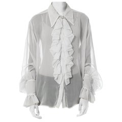 1990S White Polyester Chiffon Sheer Ruffled Poet's Blouse