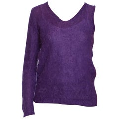 1990S W&LT Purple Mohair Blend Knit Walter Van Beirendonck One Sleeved Sweater