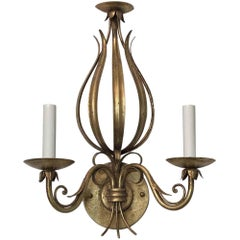 1990s Wrought Iron Foliage Gold Gilt Wall Sconce Done in a Florentine Style