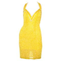 1990s Yellow Beaded Silk Dress