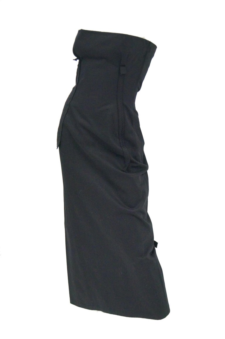 1990s Yohji Yamamoto Black Cotton Dress In Excellent Condition For Sale In Houston, TX