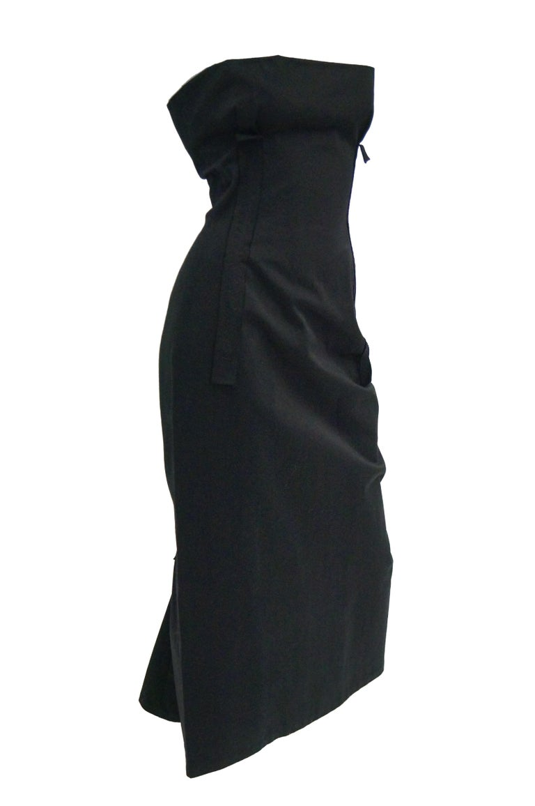 Women's  1990s Yohji Yamamoto Black Cotton Dress For Sale