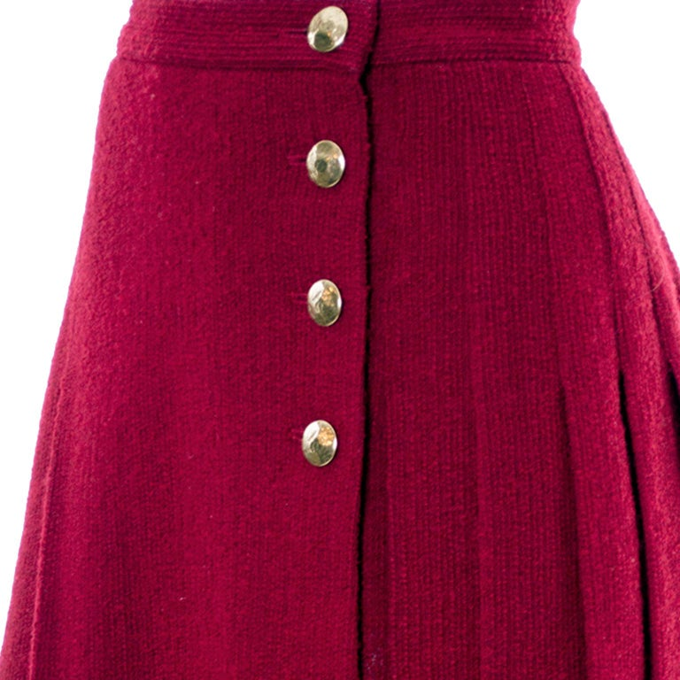 Yves Saint Laurent YSL Vintage Burgundy Red Boucle Wool Pleated 1990s Skirt In Excellent Condition For Sale In Portland, OR